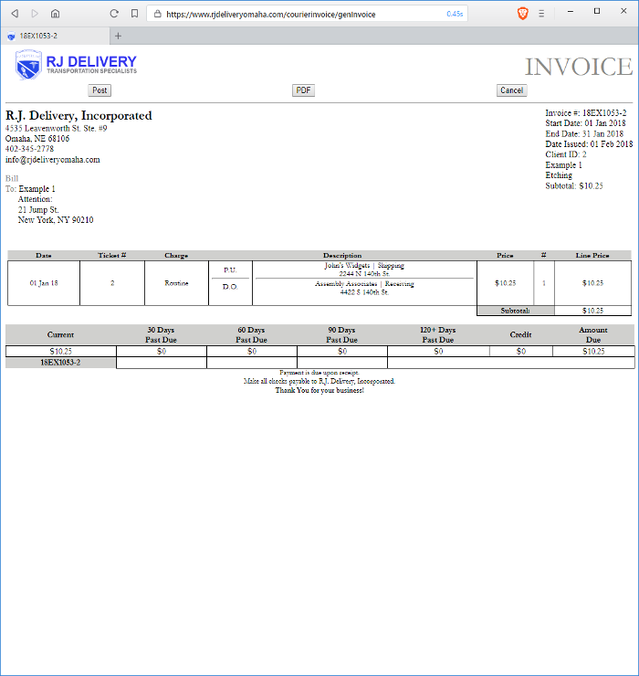 Courier Invoice Login - Invoice delivery system